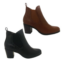 Ladies Shoes WildSole Angelica Heel Ankle Boot Black Croc Trim Zip Side ... - $57.34