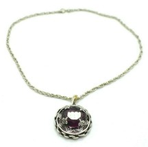 Pcraft Purple Glass Rhinestone Chain Link Silver Tone Necklace Vintage 1... - $19.79