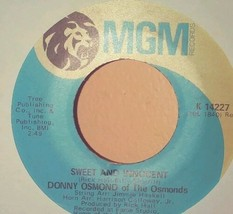 "DONNY OSMOND -  SWEET & INNOCENT / FLIRTIN'  - 7"" SINGLE vinyl record 45  - $1.98"