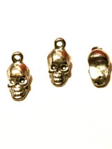 2pcs. Small Skull Fine Pewter Charms 6mm L x 12mm W x 5mm D image 2