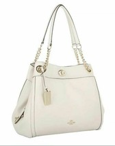 NWT Coach 36855 Pebbled Leather Chalk Turnlock Edie Shoulder Bag w/ Dust... - $219.50