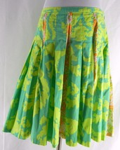 ELEVENSES Anthropologie Flared Pleated Skirt Mixed Floral Prints 8 M Cotton - $28.99