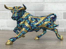 Barcino Carnival Bull Mosaic Blue Gold Hand Painted Spain New - $195.00