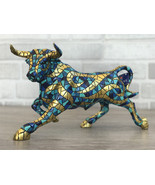 Barcino Carnival Bull Mosaic Blue Gold Hand Painted Spain New - $175.00