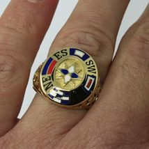 18K YELLOW GOLD BAND MAN RING, NAUTICAL ANCHOR, FLAGS, ENAMEL, COMPASS WIND ROSE image 5