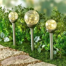 Solar Yard Stake Crackle Glass Gazing Ball Walkway Path Light Garden War... - $12.83+