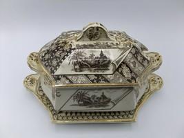 Canterbury Brown Transferware Tureen Platter Aesthetic 1883 James Beech?... - $290.24