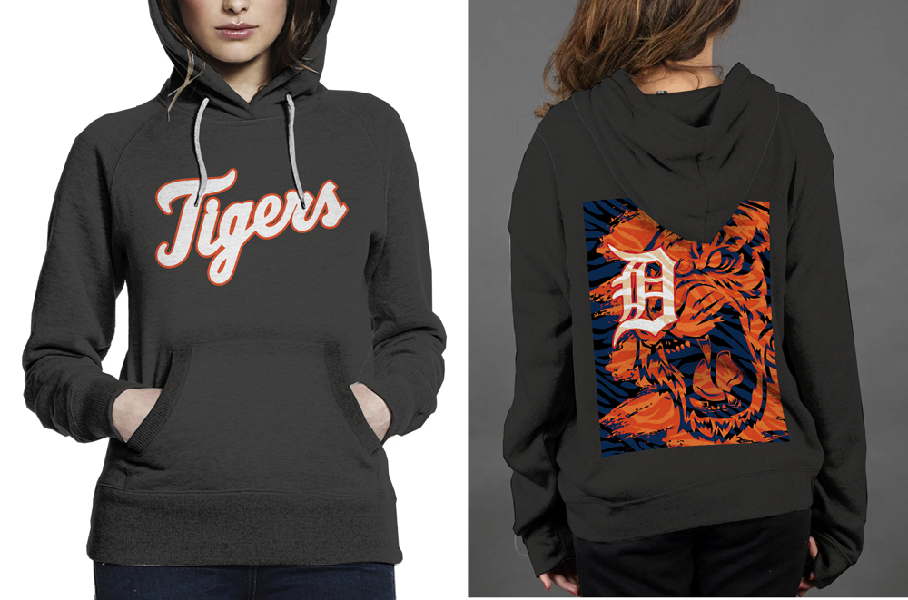 NEW !! Detroit Tigers Classic Black women's Hoodie