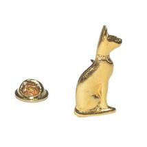 bast Golden Egyptian cat pin badge, Lapel Pin Badge / tie pin. in gift box