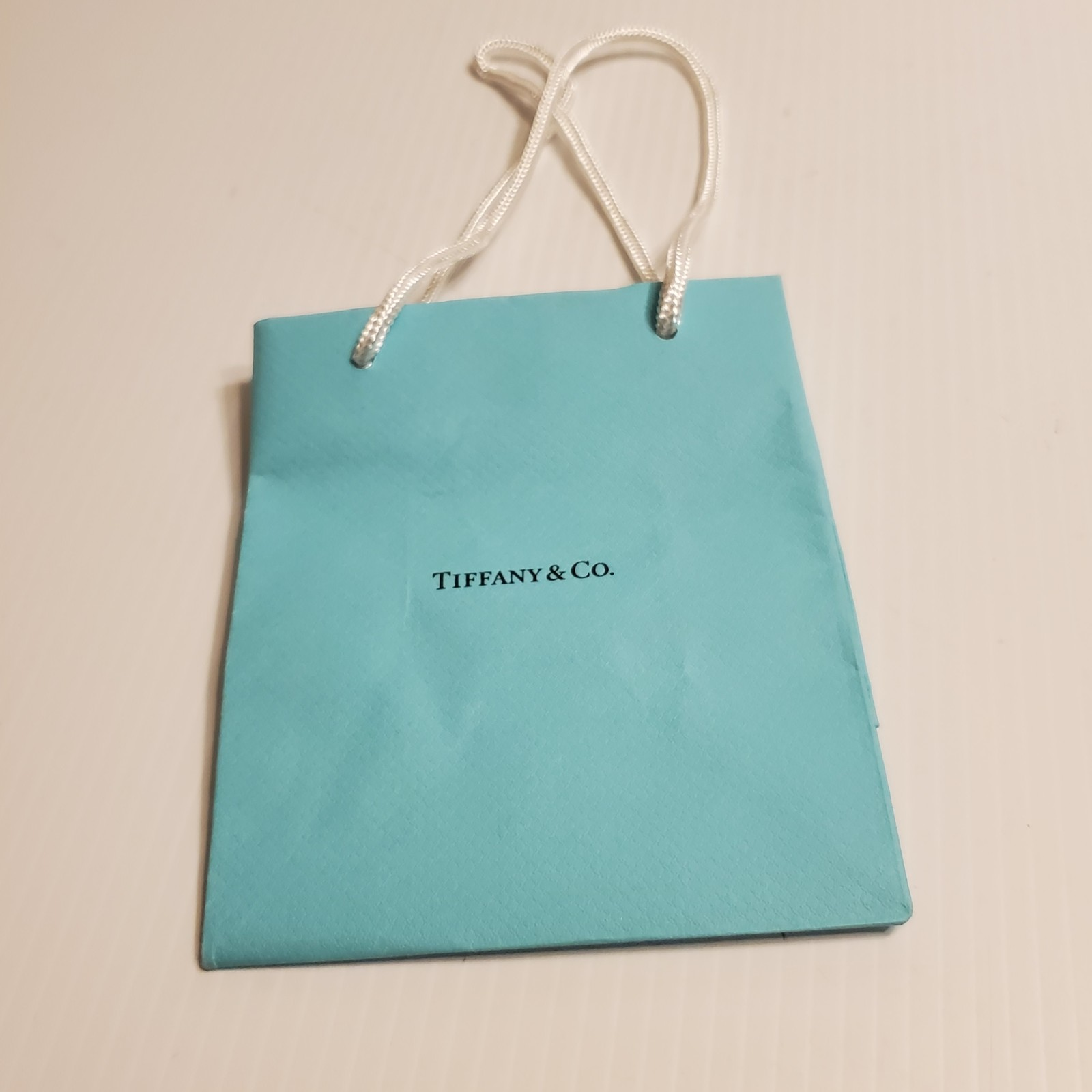 Primary image for Tiffany & Co paper  gift bag. Very good shape. Teal 6x5x3 Lot 1