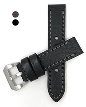 Genuine Black Leather Watch Strap 24mm, Thick Strap, Large Buckle, for P... - $43.84