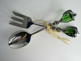 Salad Pasta Serving Set Green Glass Fish Sculpted Spoon And Fork  - $18.49