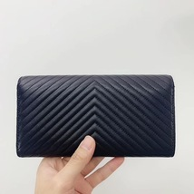 AUTH CHANEL SUPER TRARE SO BLACK QUILTED  CHEVRON FLAP TRI-FOLD CLUTCH WALLET  image 2