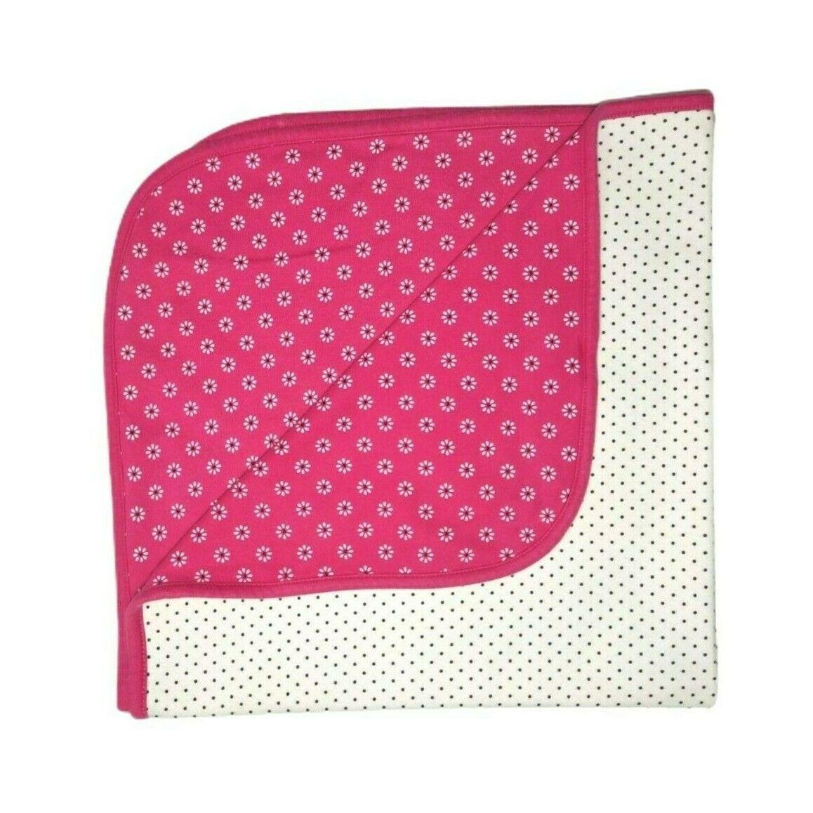 Child Of Mine Carter's Pink Flower Black White Polka Dot Cotton One Size Blanket - $12.60