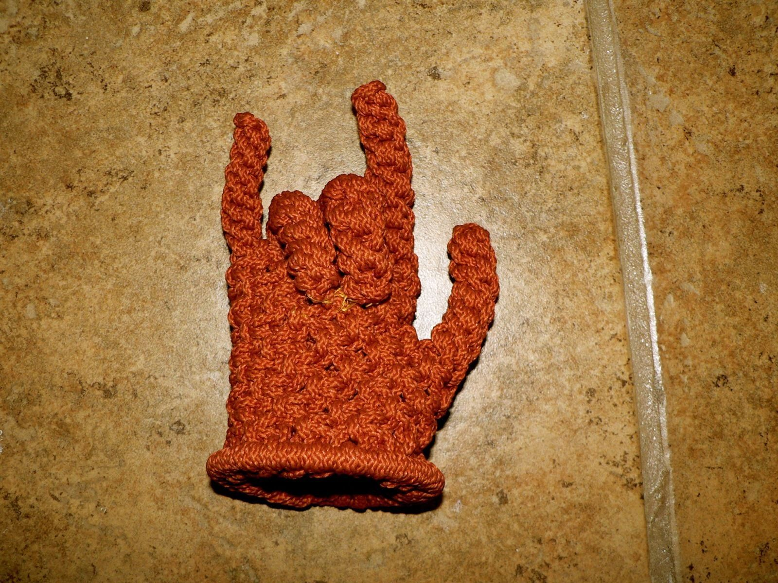 Handcrafted Devil Horns Crocheted Rope Hand Rock & Roll Heavy Metal