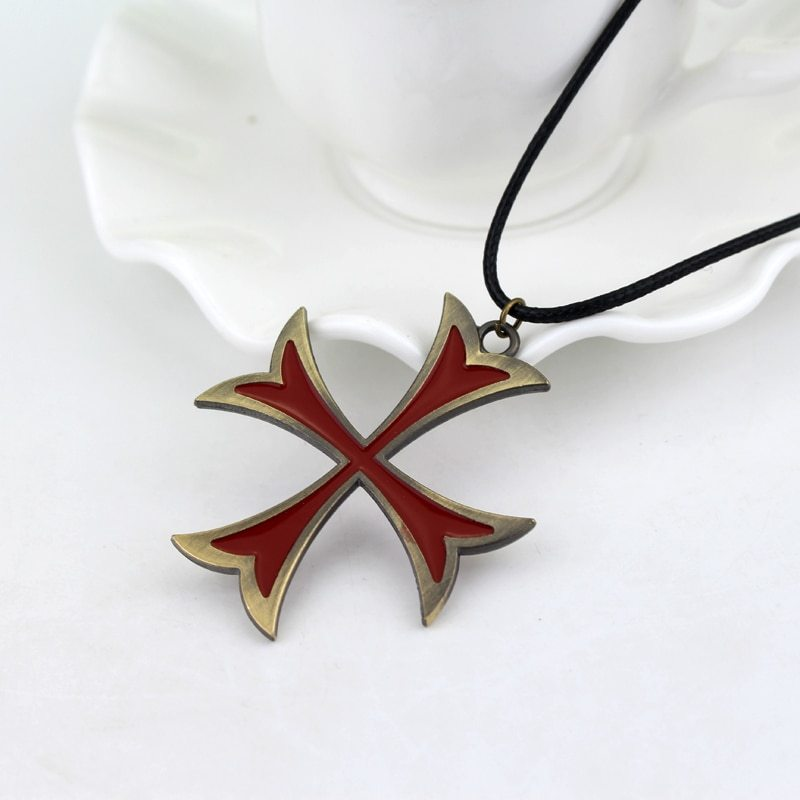Assassins Creed 3 Templar Necklace Leather Chain Red Cross Pendant Necklace For