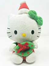 TY Hello Kitty Sanrio Mini Plush Toy Christmas Wreath Santa Hat - $14.99