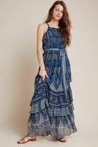 Anthropologie Sasha Ruffled Maxi Dress Size XS Blue Floral Boho Print - $94.05