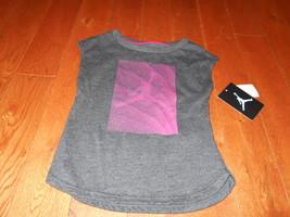 Nike active cotton t shirt youth girls 4 Gray Pink Jumpman Jordan Ball NWT 4T - $11.87