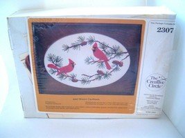 Vintage Creative Circle Emroidery kit Winter Cardinals wooden tray glass cover - $49.45