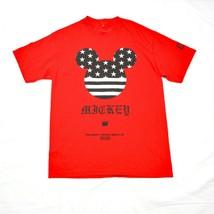 Disney Topolino Orecchie Logo Stars Striscia Camicia Neff Rosso Medio Fl... - $48.16