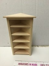 Miniature 5 Shelf Corner BOOKCASE UNIT Dollhouse Furniture Scale 1:12 / unfinish image 4