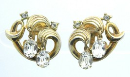 Crown TRIFARI RARE Clear Rhinestone Gold Tone Clip-On Earrings Rare Vintage - $49.49