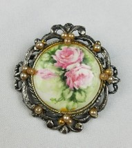 Vintage G. Harve hand painted porcelain brooch floral roses ceramic beaded - $23.76