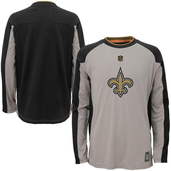New Orleans Saints Shirt Boy's 8-18 NFL Covert Long Sleeve Dri Tek Tee