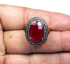 Victorian 1.32ct Rose Cut Diamond Ruby Christmas Ladies Wedding Ring - $383.35