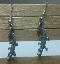 """Vintage Jewelry:1"""" Pierced Dangle Alligator Earrings 02-14-2019 - $7.91"""