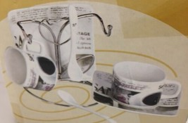 Elica Home Trends Espresso Cup and Saucer Set with Metal Stand 7 pc. new... - £18.44 GBP