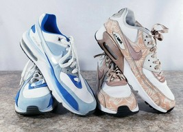 2 Nike Air Max 6 Youth White Blue Pink Floral Lace Up Non Marking Flawed  - $24.23