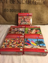 Set of 5 Small Puzzlebug etc Puzzles 500 pieces HARD TO FIND - $26.61
