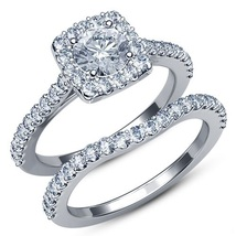 14k White Gold Plated 925 Sterling Silver Round Cut CZ Bridal Wedding Ring Set - $87.50
