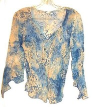 Clio Blue & Ivory Sheer Floral Print Shirt with Angel Wing Sleeves & Bea... - $23.74