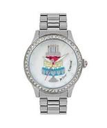 Betsey Johnson Birthday Cake Silver Tone Crystal Watch - $97.02