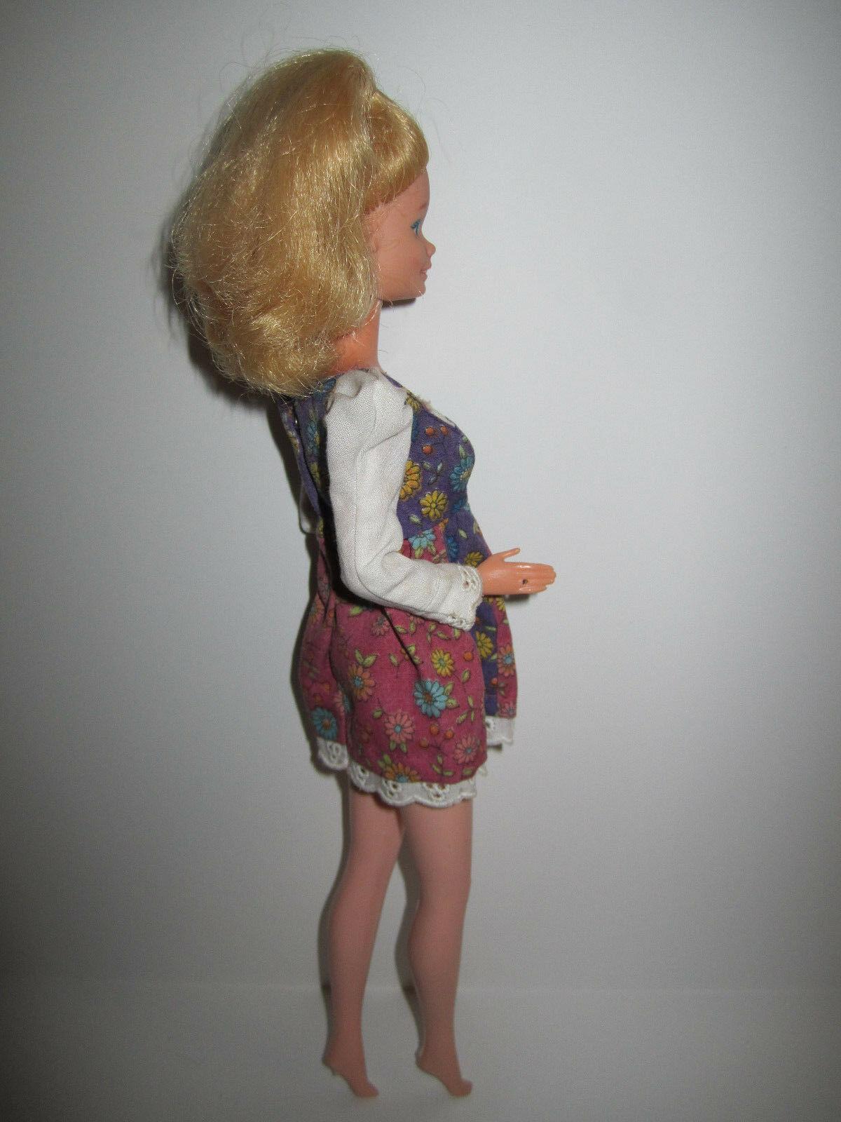Blonde Barbie Doll in vintage Red Purple Flowered Minidress image 3
