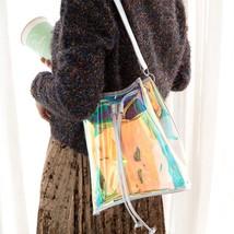 Women Bucket Bag PVC Drawstring Shoulder Bag Tassel Hologram Laser Handb... - $15.47