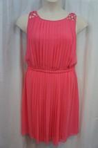 Jessica Simpson Dress Sz 14 Pink Pleated Chiffon Casual Cocktail Tea Dress - $63.82
