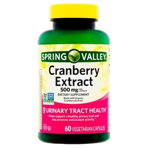 Spring Valley Cranberry Extract Vegetarian Urinary Track Health 500mg 60 Caps - $16.60