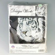 Counted Cross Stitch Kit White Tiger Picture Design Works 12x18 USA 2918 New - $23.95