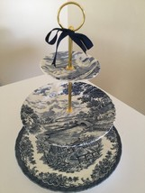 BLUE WILLOW WEDDING Cake Stand 3 Tier Serving Tray, Meakin Plate,Birthda... - $64.30