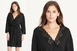 Lauren Ralph Lauren Lace Trim Solid Short Robe 8141227 Black Medium  - $41.80