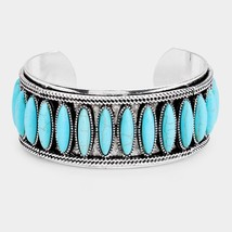 Natural Stone Statement Tribal Cuff Bracelet  - $27.00