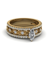 Marquise Cut White CZ Trio Engagement Ring Set Yellow Gold Fn. Sterling ... - $139.66
