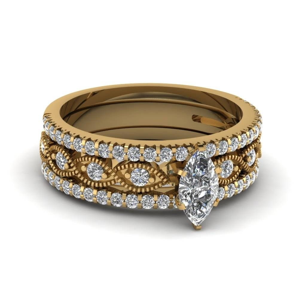 Primary image for Marquise Cut White CZ Trio Engagement Ring Set Yellow Gold Fn. Sterling Silver