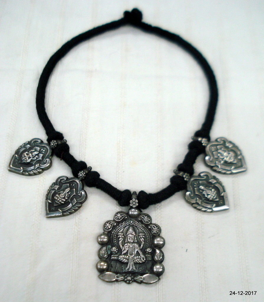 ethnic sterling silver pendant necklace hindu god vishnu & lakshmi