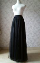 BLACK Long Maxi Tulle Skirt High Waisted Black Tulle Skirt Plus Size Black Skirt image 11