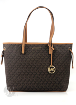 Michael Kors Jet Set Large Brown Top Zip Drawstring Tote Handbag - $124.00